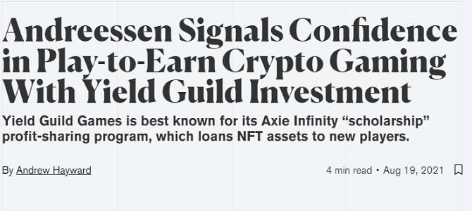 Andreessen Signals Confidence in Play-to-Earn Crypto Gaming With Yield Guild Investment